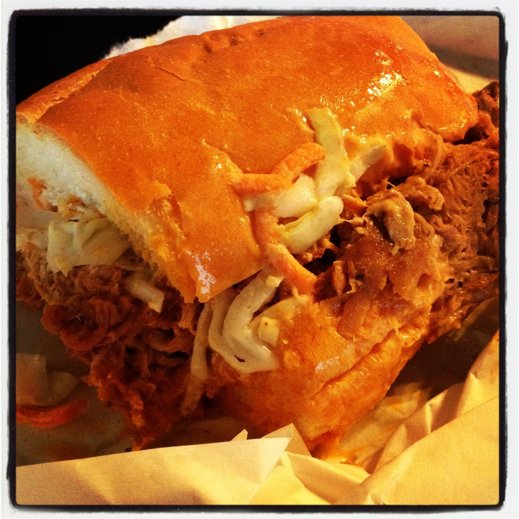 Half-size pork po boy