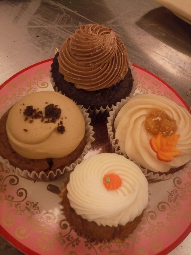 Nutty Nutella, Pumpkin Patch, Caramel Apple Spice, & Katie's Caramel Coffee Mocchiatto at the Flying Cupcake.  #nomnomnom