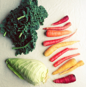 Kale, cone cabbage and rainbow carrots