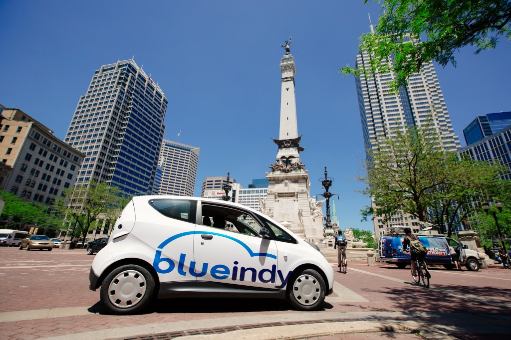 Blue Indy Electric Car Sharing